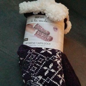 2/$40 Muk Luks Cabin Socks Furry Purple